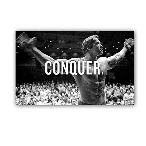 nobrand MHHSFN Conquer Arnold Bodybuilding Motivationszitat Kunst Leinwand Poster Druck Wandbild für Wohnzimmer-60x96cm ohne Rahmen
