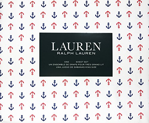 Lauren Ralph Lauren 4 Piece Full Sheet Set Navy Blue and Red Nautical Anchors on White Background 100% Cotton
