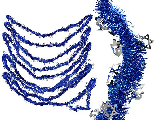 Iconikal Tinsel Garland with Silver Diecut Icons, Hanukkah Blue, 40-feet