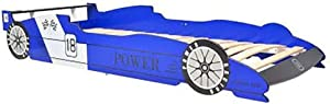 SOULONG Children s Race Car Bed  Blue Wooden Car Bed with Rails  Race Car Toddler Bedding for Years Old