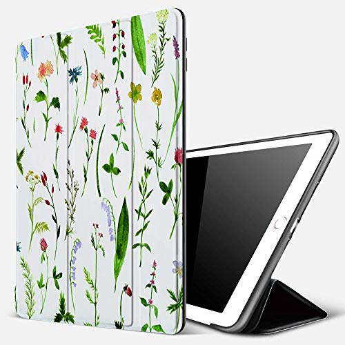 iPad 9.7 inch 2017/2018 Case/iPad Air/Air 2 Cover,Watercolor Drawing Herbs and Flowers,PU Leather Shockproof Shell Stand Smart Cover with Auto Wake