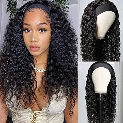 VIVI BABI Human Hair 10A Water Wave Headbands Wigs for Women Brazilian Remy Human Hair Gluess Full Head Extension Wig Headband Scarf Wig 180% Density Natural Color 22 Inches
