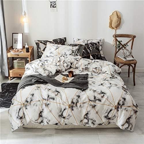 Luofanfei Bettwäsche 200x220 Baumwolle 100% Grau Weiß 3 Teilig Marmor Geometrisch Dreiecke Muster Bettbezug Doppelbett Bettdeckenbezug Bettwaesche 3 TLG Modern Deckenbezug Set