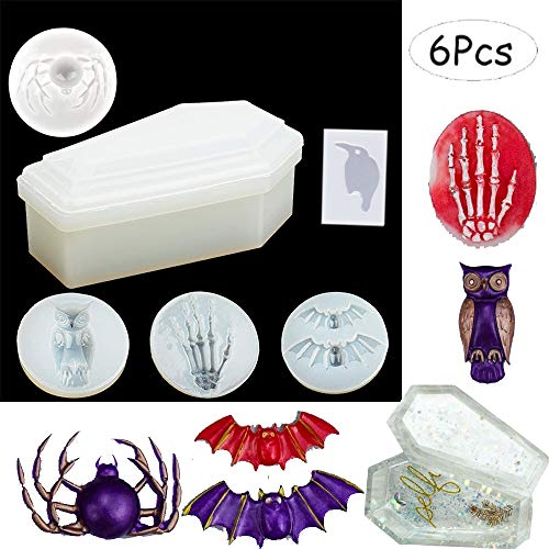 VWORK 6PCS Resin Silicone Molds, Keychain Silicone Molds, Box Molds Resin Coffin Molds with Including Trinket Box Molds and Crow, Bat, Spider, Owl, Skull Hands