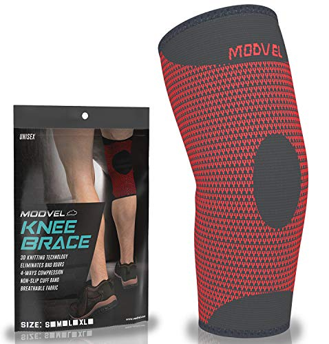 Modvel Knee Compression Sleeve for Pain Relief - Breathable 3D Knitted Knee Brace for Men and Women - Running Support Sleeves Reduce Strain and Swelling - Non-Slip Knee Braces for Working Out – Red