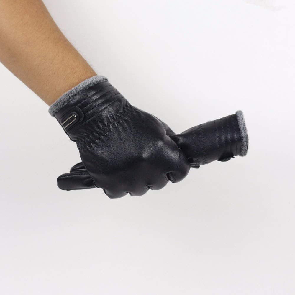 YHYHNE Gloves News Winter Gloves Soft Cashmere Keep Warm Leater Men Winter Warm Leather Soft Lining Gloves Mitten Cold Gloves (Color : M1 A)