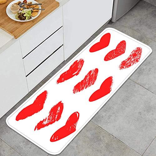 Cocina Antideslizante Alfombras de pie Vector Dibujado a Mano colección Corazones gráficos Decoración de Piso Confortables para el hogar, Fregadero, lavandería-120cm x 45cm