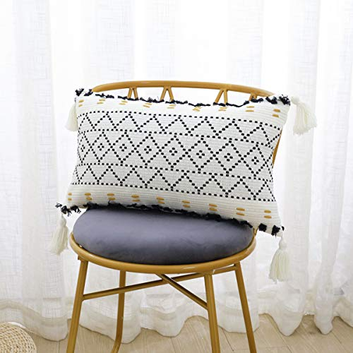 SEEKSEE Boho Decorative Lumbar Pillow Covers, Natural Cotton Hand-Woven Tufted Tassel Hug Pillow Covers, for Sofa Bed, Bedroom and Living Room (Black 1Pc 12x20)
