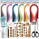 JUYA Paper Quilling Kits con 30 Colores 600 Tiras y 8 Herramientas(Herramientas Azules, Ancho 3mm...