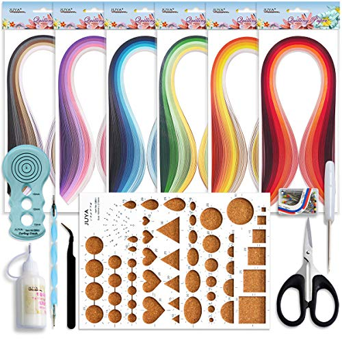 JUYA Papier Quilling Kits mit 30 Farben 600 Strips und 8 Werkzeuge(Blau-Werkzeuge, Papierbreite 3mm Kleber haben)