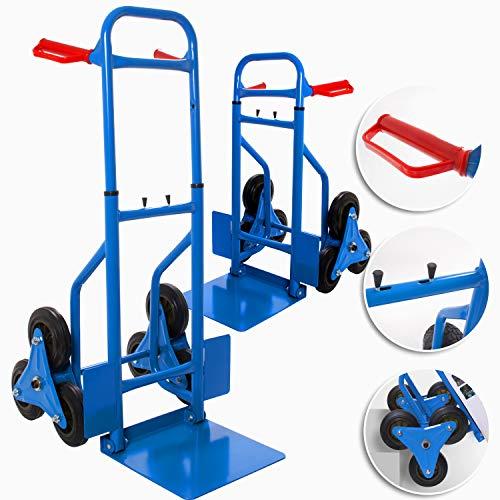 MASKO® Treppenkarre Sackkarre 200kg Transportkarre Treppensteiger Stapelkarre, klappbar Treppensackkarre Hartgummireifen | Kunststoff Griffe | Stahl Rahmen | Blau