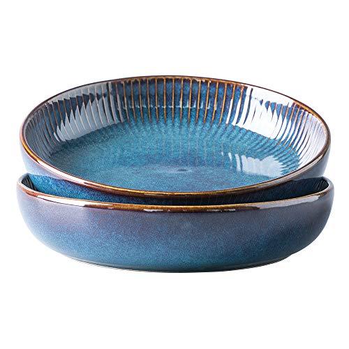 Pastaschüsseln, 21 cm Porzellan, Servierschüsseln, blau, rund, Premium-Geschirr-Set für Salat, Pasta, Obst (2er-Pack)