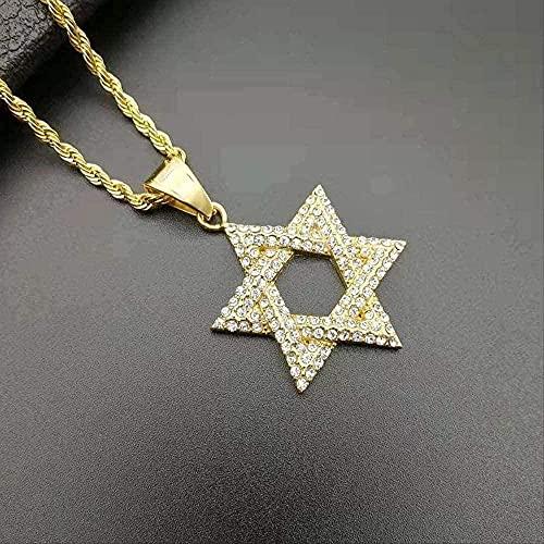 YOUZYHG co.,ltd Collar 1 Pieza Hip Hop Diamante de imitación Color Dorado Collares de Acero Inoxidable Estrella de David judía Hexagrama TMen Rapper