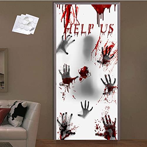 ZEACCT 60 * 30 'Cubierta grande de puerta de ventana de Halloween para decoraciones de Halloween de casa embrujada, accesorios de Halloween con huellas de manos sangrientas y aterradoras