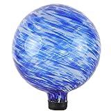 Lily's Home Glaskugel, eine farbenfrohe Ergänzung für jeden Garten oder Zuhause, ideal als Einweihungsgeschenk, 25,4 cm Beruhigendes Wasser