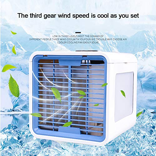COMY Mini Enfriador De Aire, Aire Acondicionador PortáTil De Aire Personal Ventilador Humidificador, 3 Velocidades Ruido Bajo Enfriamiento Suave para Oficina De Dormitorio Al Aire Libre
