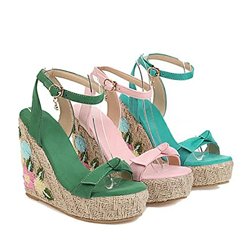 Sandalias de tacón alto para mujer, Flock, color sólido al aire libre, punta abierta, bordada ligera, pajarita, pendiente con flores, sandalias de cuña