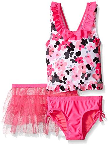 ZeroXposur Girls' Little Confetti Tankini Swimsuit with Tutu Skirt, Barbie, 4