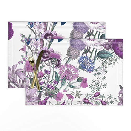 Roostery Cloth Placemats, Lilac Wildflowers Purple Lavender Floral Flowers Botanical Spring Summer Print, Linen-Cotton Canvas Placemats, Set of 2