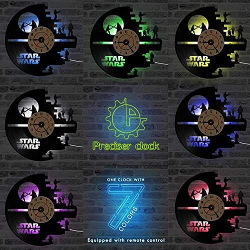 Yvonnezhang 3D Star Wars Schallplattenuhr Vinyl LP Hollow CD Uhr Decor Home Hanging Wanduhr kreativ und antiker Stil LED Uhr, B mit LED, 30,5 cm