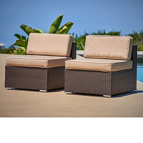 SUNCROWN Outdoor Furniture Brown Wicker Patio Sofa Chairs 2, Additional Seats for 7-Piece Sets with Washable Cushion Covers, Backyard, Pool