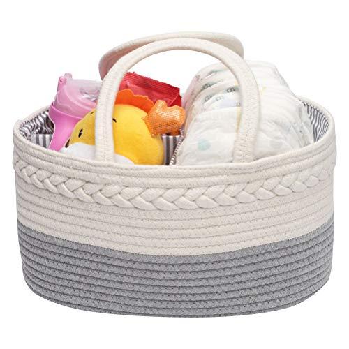 Cesta de almacenamiento portátil para bebé, cesta de almacenamiento extraíble, cesta trenzada con asas largas, color gris