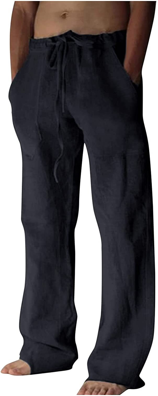 Mens Linen Pants Drawstring Loose Fit Elastic Waist Yoga Beach Pants Casual Summer Baggy Wide Leg White Pants Big and Tall