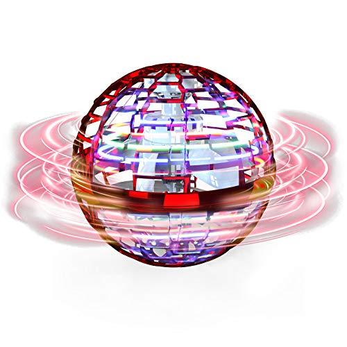 FLYNOVA PRO Fiegender Spielzeug, Handgesteuerter Mini Drohne, Fliegender Spinner mit 360 ° rotierenden LED-Leuchten für Kinder Erwachsene Innen im Freien (Rot)