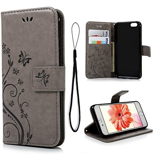 mollycoocle iphone case 5s Wallet Case Compatible with iPhone 6, Luxury PU Leather Butterfly Embossed Flip Case with Kickstand Card Holder, Protective Shockproof Case Wrist Strap Removable Flip Cover 4.7 inch