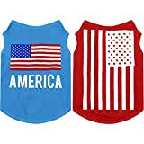 2 Pieces Pet Breathable Shirts Independence Day Dog Printed Puppy Shirts Pet Sweatshirt Cute Dog Apparel Puppy Dog Clothes Soft T-Shirt for Pet Dogs and Cats (Flag,S Size)
