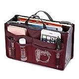 Glomixs Women Portable Organizer Bag Multifunction Travel Compartment Handbag, Felt Handbag Organizer Multi-Pockets Bag Tote Shaper Large Capacity Waterproof Storage Bag