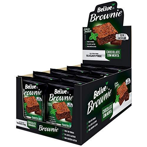 Display de Brownie Chocolate com Menta Sem açúcar Sem glúten Sem lactose Belive 10 unidades de 40g