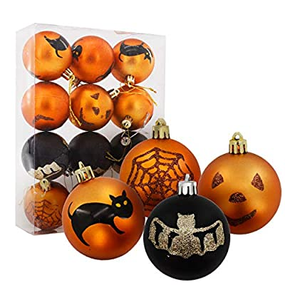 DUUMALL Christmas Ball Ornaments, Christmas Halloween Decor 2.4 Inch Ball 4 Style Pattern for Party Christmas Tree Ornaments 12 Pecs Set