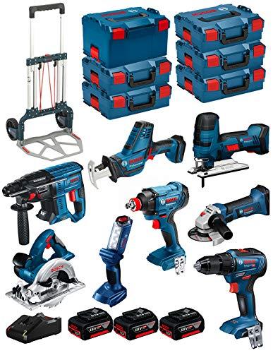 BOSCH Kit 18V BK801 (GST 18 V-LI S + GKS 18 V-LI + GBH 18V-21 + GWS 18-125 V-LI + GSR 18V-55 + GSA 18 V-LI C + GDX 18V-180 + GLI 18V-300 + 3 Baterías 4,0Ah + Cargador + 5xL-Boxx136 + L-Box238 + Carro)
