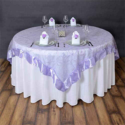Satin Edge Embroidered Sheer Organza Table Square Overlay - 72' x 72' | Lavender | Pack of 1