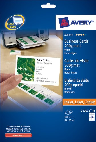 Avery C32011-10 Visitenkarten, einseitig bedruckbar, 200g/m², für Laser-/Tintenstrahldrucker, 100 Stück
