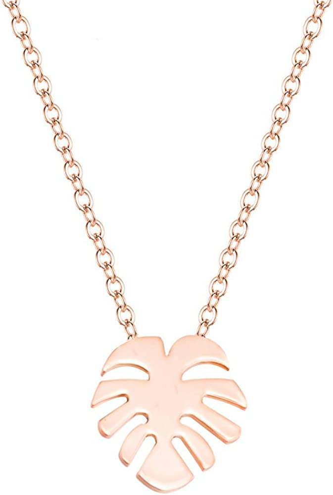 Stainless Steel Hawaiian Palm Leaf Necklace.Tropical Leaves Pendant Necklace for Woman Girl Jewelry Vacation Beach Gift