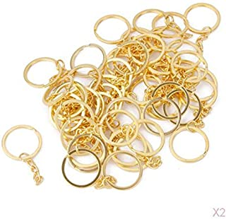 Prettyia Heavy Duty Metal Split Keychain Ring Parts - 100 Gold Key Chains With 25mm Open Jump Ring and Connector - Make Yo...