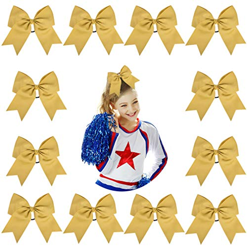 "DEEKA 12PCS 8"" Two Toned Large Cheer Hair Bows Ponytail Holder Handmade for Teen Girls Softball Cheerleader Sports-Gold"