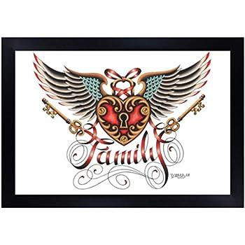 Family by Tyler Bredeweg Framed Art Print Vintage Traditional Tattoo Wings Crest