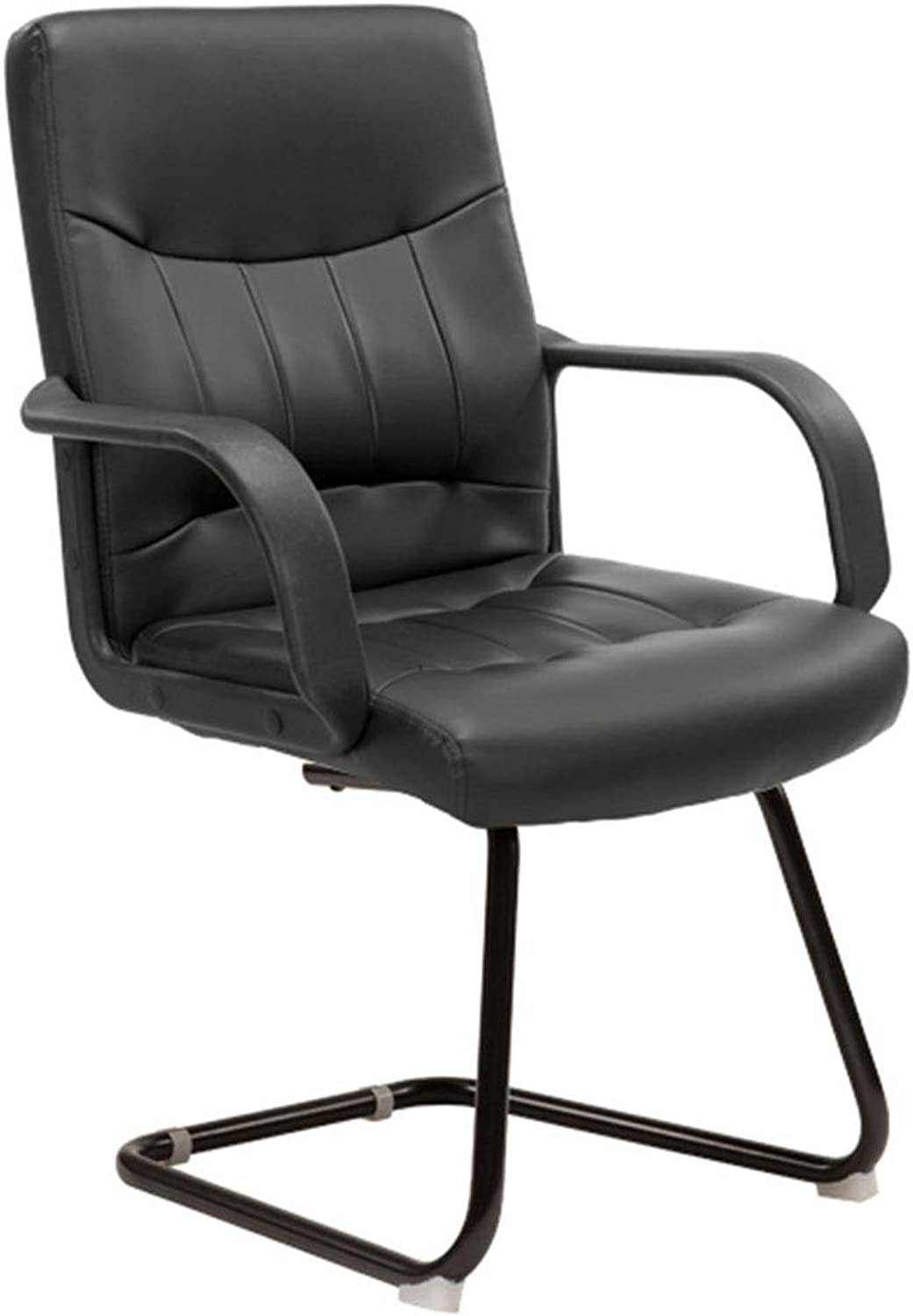 Office Chair Computer Chair Home Office Chair Bow Leather Chair Staff Conference Chair Student Dormitory Chair Mahjong Chair Ergonomic Design, Fixed Handrail (color   Black, Size   48  54  105cm)