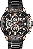 Orologio analogico al quarzo del cronografo dell'oro con orologio di fascia alta dell'oro del braccialetto dell'acciaio inossidabile, Nero ,