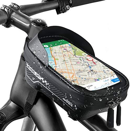 SINCHER Fahrrad Rahmentasche Wasserdicht Fahrrad Lenkertasche Oberrohrtasche Touchscreen Handyhalterung Fahrradtasche mit Touchscreen und Kopfhörerloch für Handy bis zu 6,5 Zoll