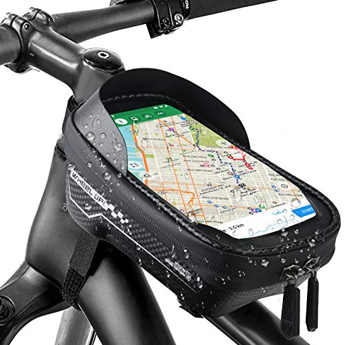 SINCHER Bolsa para cuadro de bicicleta, resistente al agua, para manillar de bicicleta, con pantalla táctil y orificio para auriculares de hasta 6,5 pulgadas