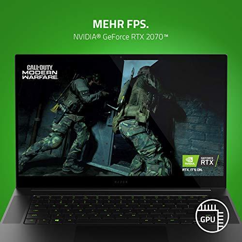 Razer Blade 15 Gaming Laptop 2020: 15,6 Zoll 4K OLED Basis Modell, Intel Core i7 10th Gen, NVIDIA GeForce RTX 2070, 16GB RAM, 512GB SSD, Chroma RGB Beleuchtung | Qwertz DE-Layout
