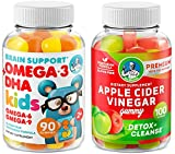 Apple Cider Vinegar Gummies and Omega 3 + DHA Supplement – Brain and Immune System Booster and Vision Support with Raw ACV Vitamins for Detox & Cleanse Healthy Digestion – Weight Loss & Heart Health