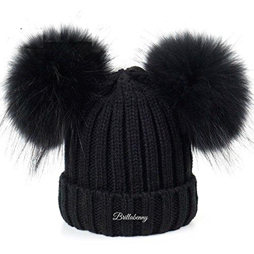 BrillaBenny Cappello Pelliccia Vera Doppio PON PON Nero Ragazza Donna Cuffia Berretto Hat Fur Luxury Neve Sci Inverno Regalo Natale