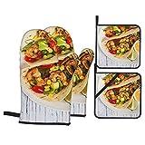 Juego de 4 Guantes y Porta ollas para Horno Resistentes al Calor Tacos De Camarones con Salsa De Maíz Y Aguacate. Enfoque selectivo para Hornear en la Cocina,microondas,Barbacoa