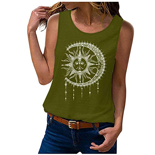 ML_Victor Women Sunflower Workout Tank Tops You are My Sunshine Graphic Holiday Sleeveless Shirt Tee Army Green