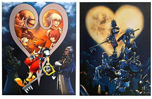 Kingdom Hearts 8 x 10 Inch Canvas Wall Art 2 Piece Gift Bundle, Soras Heart and Group Over